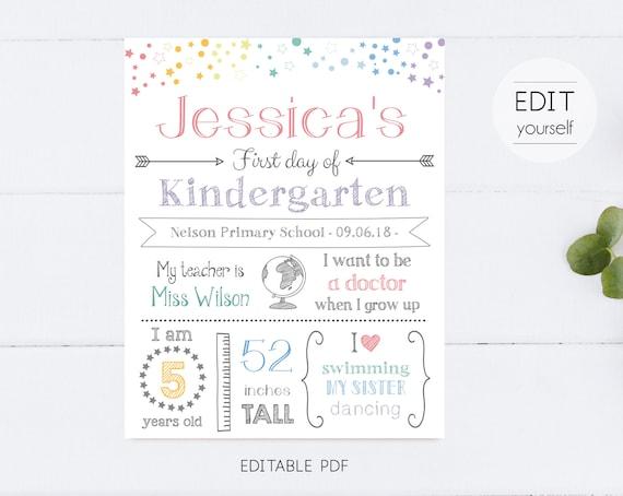 First/Last Day of School Sign Chalkboard Print, Stars Rainbow, Editable Text, DIY, Whiteboard Sign, Kindergarten, INSTANT DOWNLOAD