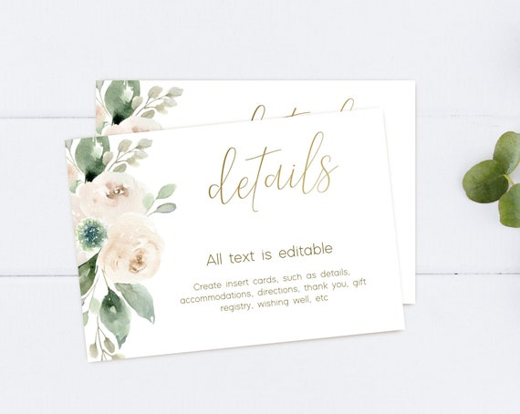 Greenery Bridal Shower Invitation Insert, Bridal Shower Printable, Greenery Bridal, White Floral Gold, DIY Bridal Card, Corjl