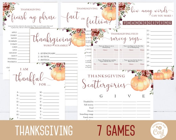 Thanksgiving Games, Editable Thanksgiving Games, Friendsgiving games, Thanksgiving printable, Thanksgiving family games, Corjl