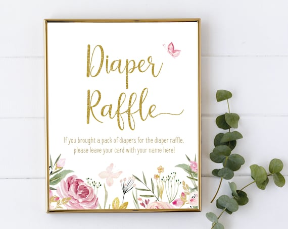 Diaper Raffle Sign, Baby Shower Sign Printable, Baby shower Butterfly flowers floral, Baby Shower, baby shower sign, Pink and gold
