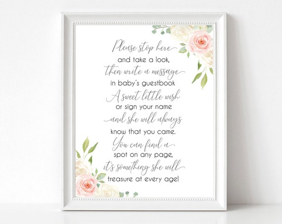 Baby Shower Please sign the Guestbook Printable Sign, Baby Shower Sign Printable, Romantic Blush Pink White Floral, Instant Download