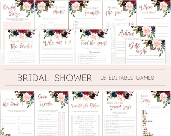 Bridal Shower Games, Bridal Shower Games Bundle, wedding shower games, editable games, Blue Navy Marsala Burgundy Blush and Rose Gold