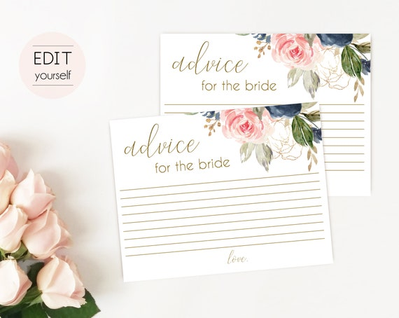 Advice Card Printable, Bridal Shower Advice Card, Advice for the bride and groom, Instant Download, Blue Navy Blush Rose and Gold