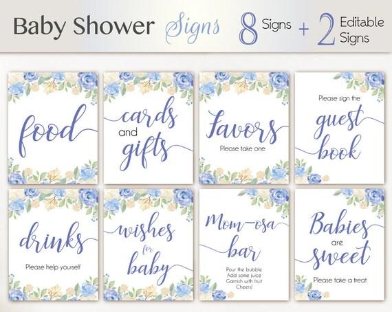 Baby Shower Sign Set, Baby Shower Editable Sign Package Set Bundle, Printable Baby Sign, Editable Sign, Floral Sign, Baby Shower Boy Blue