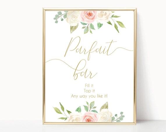 Parfait Bar Sign Printable, Yogurt Bar Sign, blush pink and gold, floral sign, Party Decorations Bridal Shower Sign, Bar sign printable