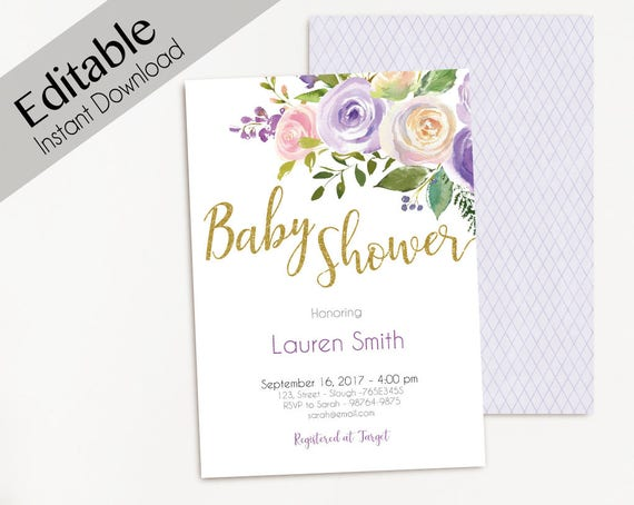 Baby Shower Invitation Purple Gold, Editable PDF Baby Shower girl, flowers watercolor Invitation Baby Girl, baby shower template