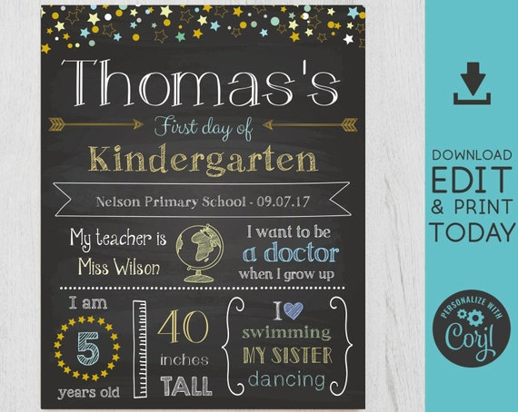 First/Last Day of School Sign Chalkboard Print, neutral colors, Editable Text, DIY, Chalkboard Sign, Stars, INSTANT DOWNLOAD, Corjl