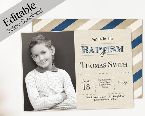 Baptism Invitation Boy Editable file, Editable PDF Instant Download Boy Invitation, LDS Baptism Invite, Baptism Invitation photo Boy Baptism