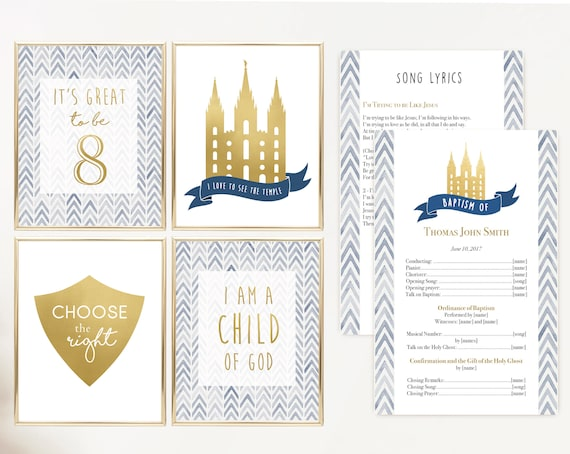 Baptism Poster, LDS Baptism, Baptism Decor, Baptism Program, LDS Baptism Program, Baptism Gold and Navy, It's great to be 8, Temple poster