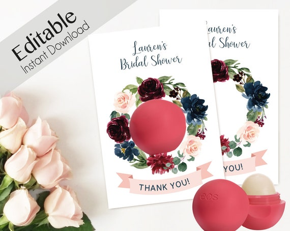 Editable EOS Lip Balm Thank You Tags Floral EOS tags EOS Bridal Shower Favors Bachelorette Party Birthday Baby Shower Favors Navy Marsala