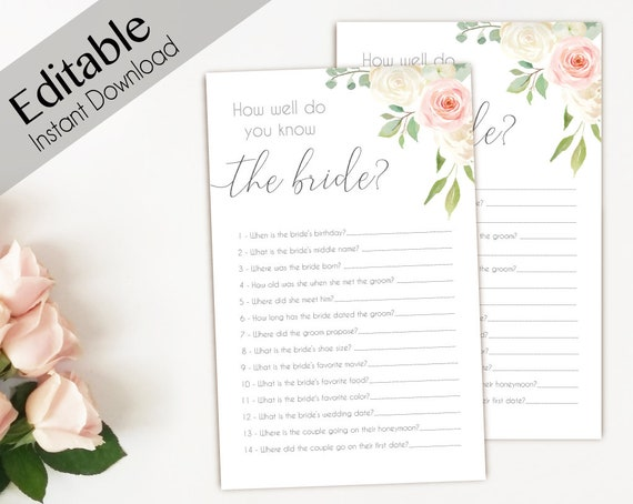 Bridal Shower Game How well do you know the bride Editable PDF Bridal Shower Romantic Blush Pink white Flowers Editable Game