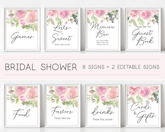 Bridal Shower Sign, Bridal Shower Sign Package Bundle, Printable Bridal Tea Sign, Romantic blush rose Floral Sign, Editable Sign Pink Bridal