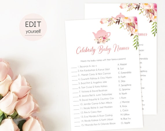 Editable Celebrity Baby Names Game, Baby Shower Game, Baby Tea Game, Romantic Blooms Rose Floral, Tea pot, Celebrity Names Game