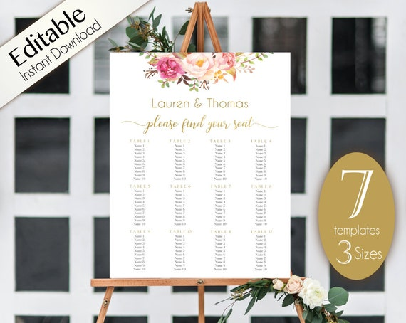 Wedding Seating Chart Template, PDF Editable Wedding Table Seating Chart Poster Sign, PDF Instant Download, Romantic Blooms Rose Floral Gold