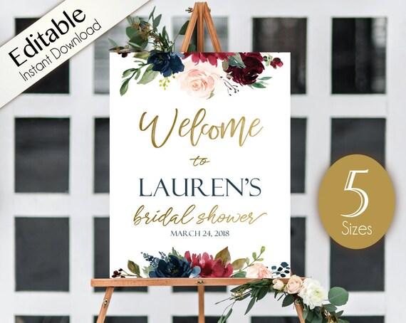 Welcome Sign Bridal Shower, Template Bridal Shower, Editable PDF Welcome Bridal Shower Blue Navy Marsala Burgundy Blush Gold Editable sign