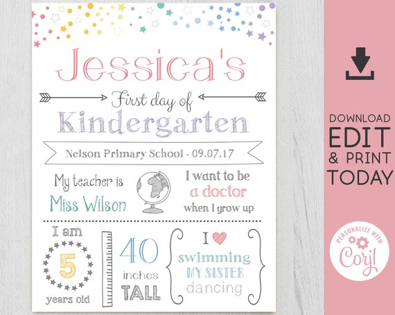 First/Last Day of School Sign Chalkboard Print, Rainbow Stars, Editable Text, WhiteBoard Back to Shool, Any Grade, INSTANT DOWNLOAD, Corjl