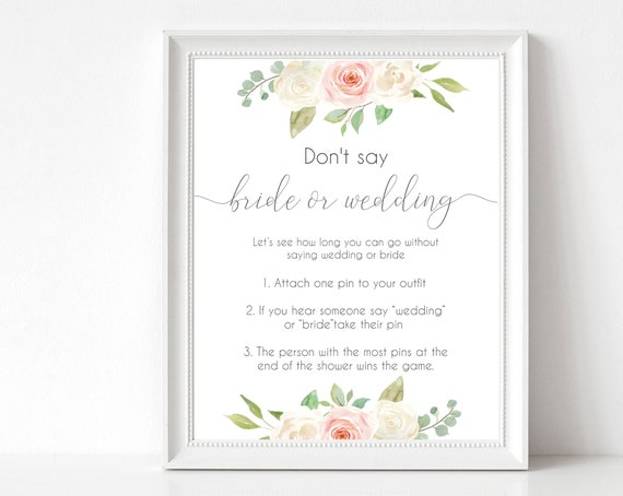Don't Say Bride or Wedding, Bridal Shower Game, Blush White Pink, Instant download, Wedding Game, Editable Sign, Editable Template, Corjl