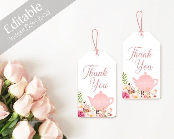 Favor Tag Bridal Tea Template, Editable PDF Bridal Tea, Bridal Tea Tag Printable, Instant Download, Romantic Blush Pink Floral Bloom