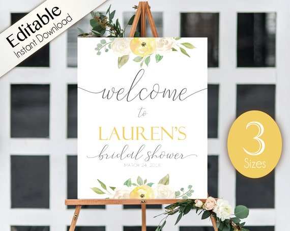 Welcome Sign Bridal Shower, Template Bridal Shower Editable PDF, Welcome Bridal Shower Sign Romantic White Blush Yellow Floral Editable Sign