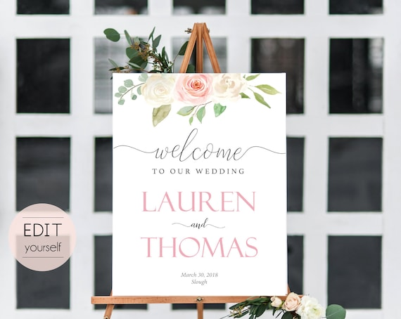 Welcome Sign Wedding Template, Editable PDF,  Floral Lavender Wedding welcome sign, Wedding welcome, White blush pink floral