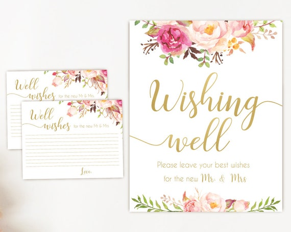 Wishing well sign, Romantic Blush Bloom Pink Gold, well wishes cards Bridal Shower Wishes for the new mr mrs card template, instant download