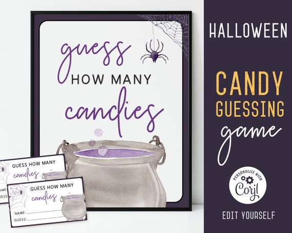Halloween Guess How Many Candies Game, Editable Halloween Game, Halloween Game Files, Printable Kids Candy Guessing Game, Corjl