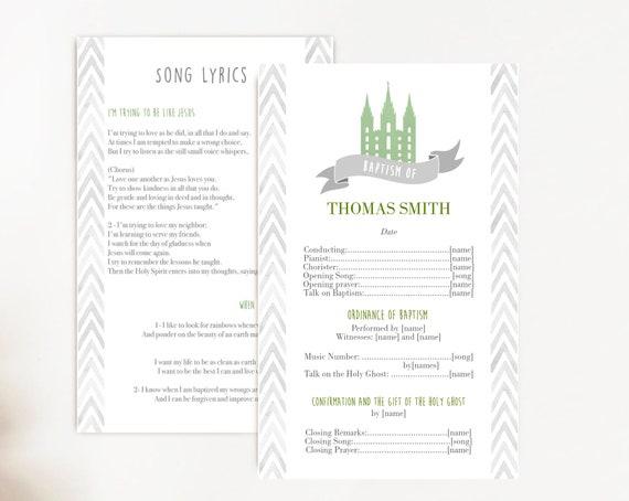 Baptism Program, Editable Program, LDS Printable Digital Handout boy Baptism, Green Grey, Watercolor, Baptism Template, Corjl