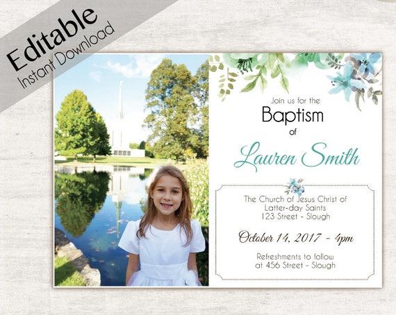 Baptism Invitation Girl, Editable PDF, Girl Invitation Blue Green watercolor, Baptism Invite, Flower Blue Girl Baptism Template