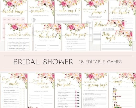 Bridal Shower Games, Bridal Shower Games Bundle, Romantic Blush Bloom Pink Gold, Editable Bridal Shower Games, Package Set Bundle