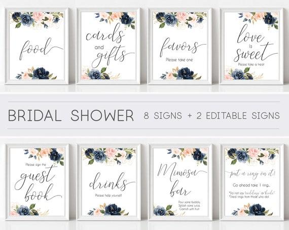 Bridal Shower Sign, Bridal Shower Sign Package Bundle, Printable Bridal Tea Sign, Navy Rose Floral Bridal Shower Sign, Editable Sign