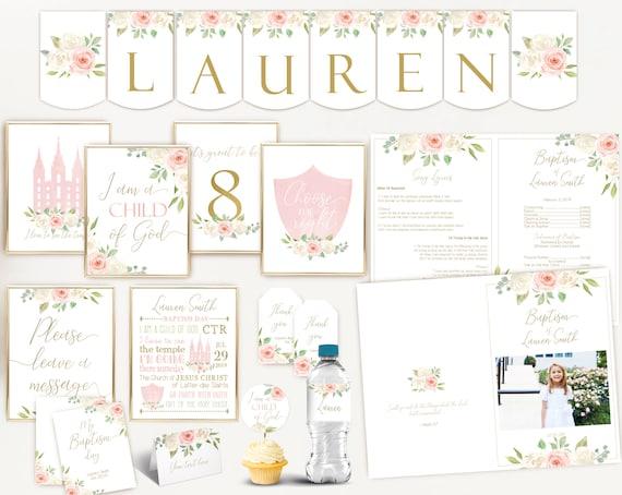 Baptism Girl, Editable Baptism program,  Kit, Set, LDS Baptism Girl, Editable Template, White flowers Blush Pink Watercolor Floral Gold