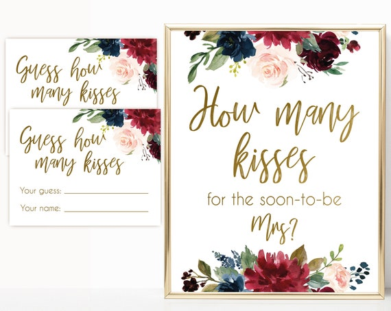 How many kisses for the soon to be Mrs, Blue Navy Marsala Burgundy Blush Floral Gold, How many kisses cards and sign, How many kisses card