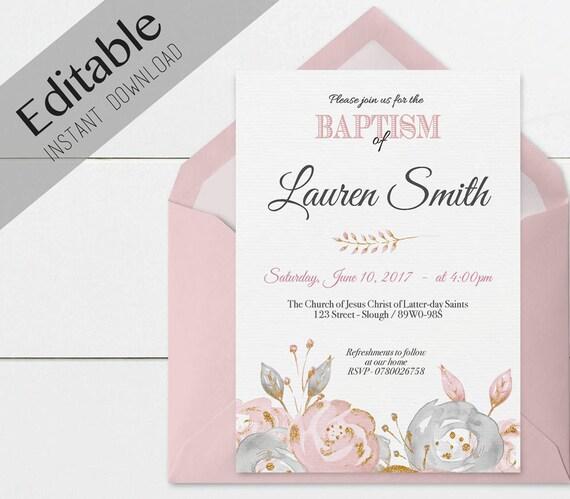 Baptism Invitation Girl, Editable PDF, Girl Invitation pink grey watercolor, gold, Baptism Invite, No Photo Needed, Invitation Template
