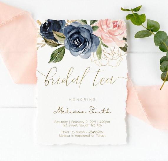 Bridal Tea Invitation, Editable Navy Gold Dusty Rose Floral Bridal Tea invitation, Printable Bridal Tea Invitation, Editable PDF