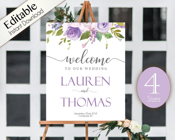 Welcome Sign Wedding Lilac Purple Flowers Editable Printable Welcome Poster PDF Editable Template Instant Download Printable, Wedding Sign