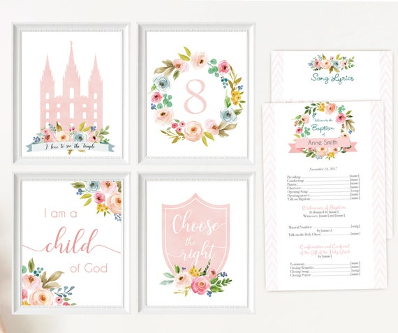 LDS Baptism, Editable LDS Baptism Program, Poster Baptism, Choose the Right, I love to see the temple I'm a child of God, Instant Download