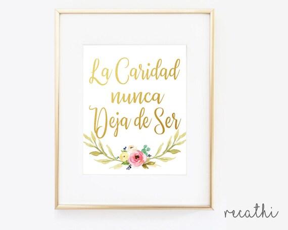 La Caridad nunca deja de ser, En Español, Charity Never Faileth Poster in Spanish, LDS Relief Society, Instant Download, LDS print, Gold