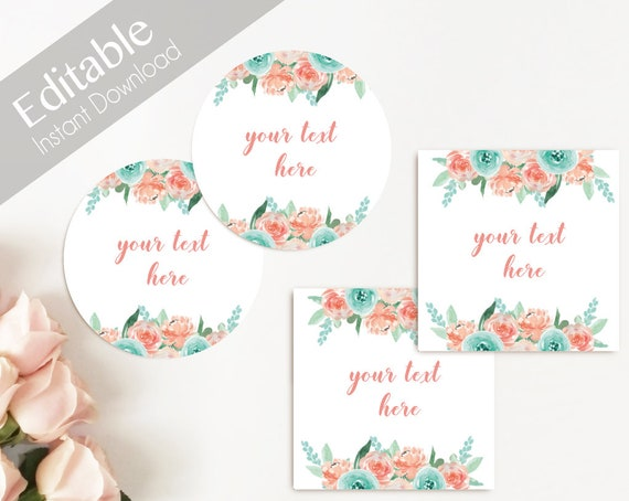 EDITABLE Label / Tag, Mimosa Bar Juice Tags, Bar Drink Tags, Editable Labels Bridal Shower Decoration, Coral Peach Mint Turquoise Flower
