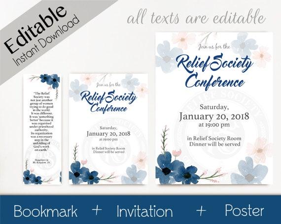 Relief Society Invitation, Editable Invitation, Editable Poster, Editable Bookmark LDS Relief Society Digital Printable Combo Relief Society