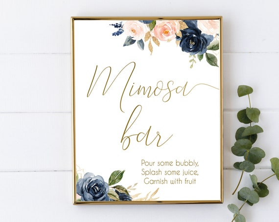 Mimosa Bar sign, Navy Gold Rose Floral, Mimosa Bar Sign, Wedding Bar Sign, Printable Sign, Wedding Sign, Engagement Party Bubbly, BG01