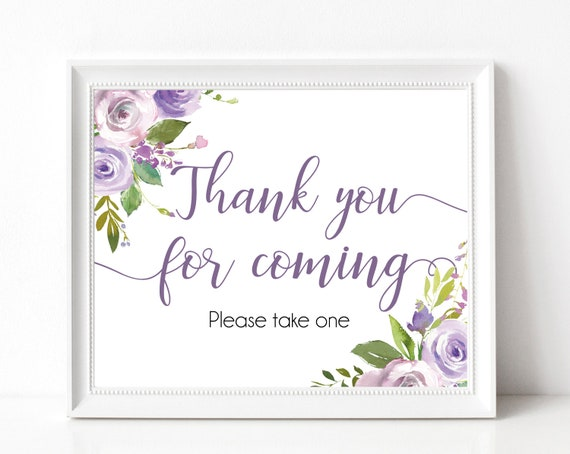 Thank you for coming Sign,Printable Sign Baby Bridal Wedding Shower Sign, Favor Sign, Please take one Sign, Lilac Purple Lavender Floral