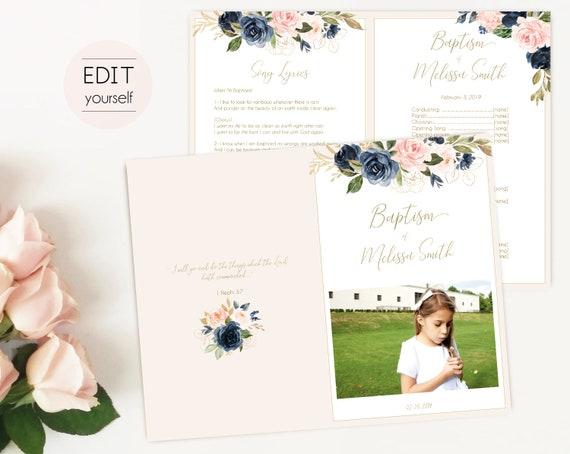 Baptism Program, Editable PDF, Printable Digital Handout Girl Baptism, navy blush gold flowers, watercolor, Girl Baptism Template