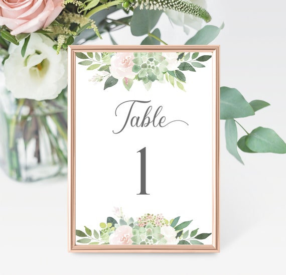 Editable Table Number, Table Number Template, Table Numbers sign, succulent greenery blush flower, Editable PDF, Instant Download