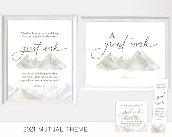 2021 LDS Mutual Theme, Young Women, A Great Work 2021 LDS New Young Women Youth Theme Printable, Poster, Bookmarks, Handouts, A Great Work