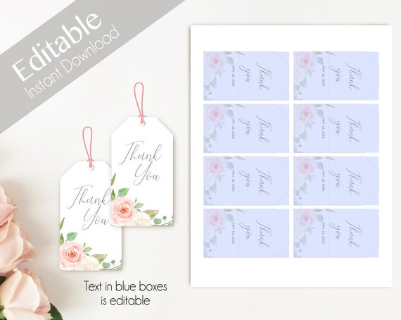 Favor Tag Bridal Shower Template, Editable PDF Bridal Shoer, Bridal Tea Tag Printable, Instant Download, Romantic Blush Pink White Floral