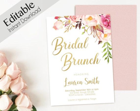 Bridal Brunch Invitation Editable PDF, Bridal Brunch Printable, Romantic Blush Pink Floral Bloom, DIY Bridal Invitation Pink Gold