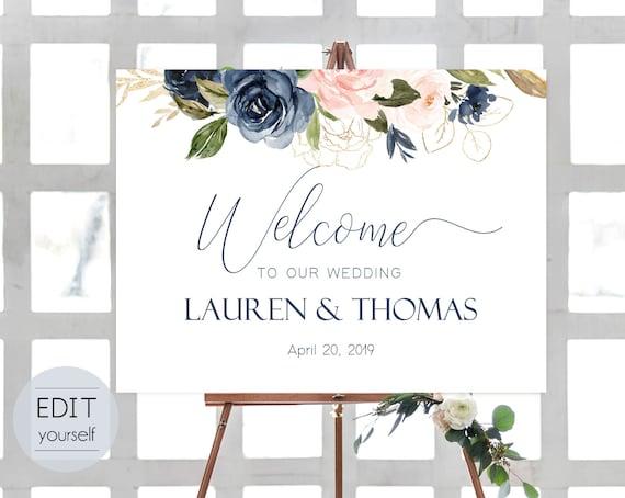 Welcome Sign Wedding Template, Editable PDF, Navy Blue Blush Rose Wedding welcome sign, Wedding welcome, Navy Welcome Wedding Sign