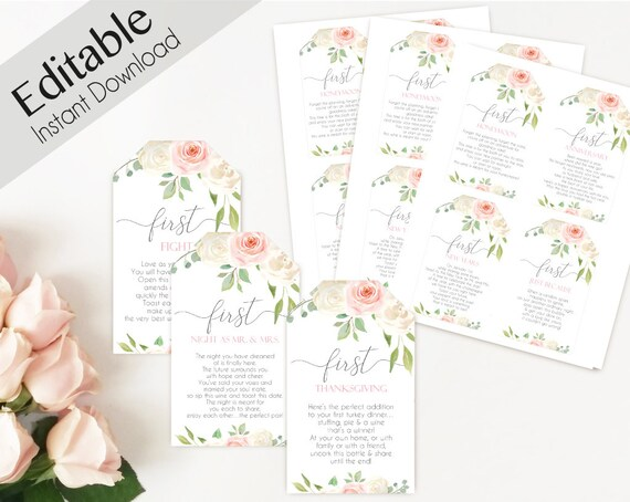 Editable Wine Tag with Poems for Wedding, Marriage Milestone Wine Basket Tag template, Romantic White Blush Pink, Editable wine poem tag