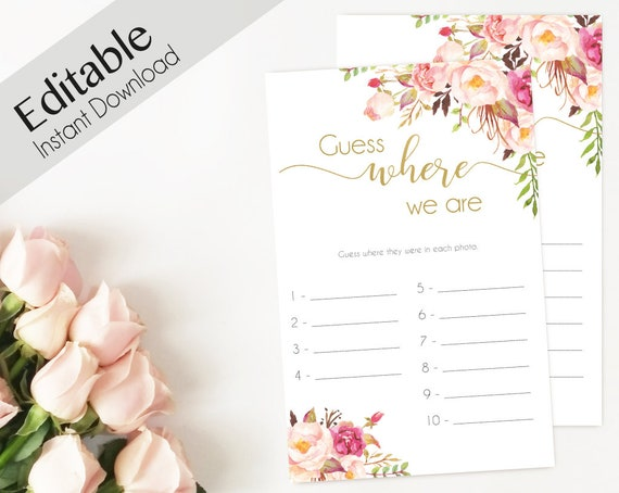 Bridal Shower Game Where we are Editable PDF Bridal Shower Romantic Blush Bloom Flowers Pink Gold, Editable Game, guess where we are
