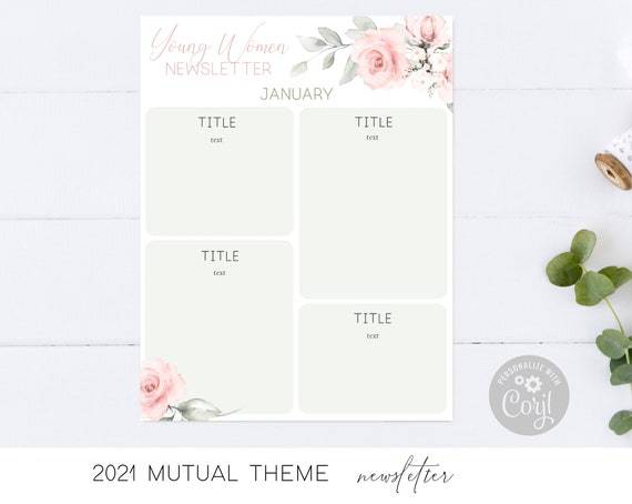 Editable Newsletter Young Women, 2021 LDS Young Women Theme, 2021 Mutual Theme, A Great Work, Instant Download, Young Women Printable, Corjl
